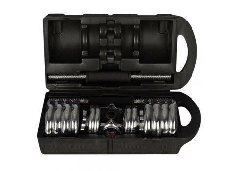 Гантель наборная 15 кг (2шт по 7,5 кг), хромированная, в чемодане MS 0228