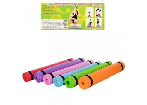 Гимнастический коврик (коврик для фитнесса, йогамат, мат для йоги) M 0380