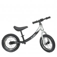 Беговел детский на надувных колесах 12 дюймов ML-0083-3 черно-серый