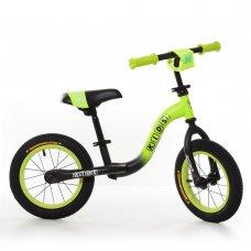 Беговел (велобег) на надувных колесах 12 дюймов, W1201-6 черно-зеленый матовый