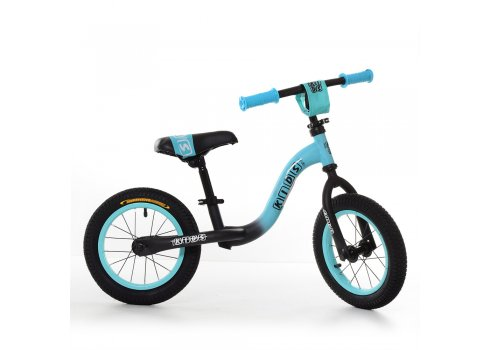 Беговел (велобег) на надувных колесах 12 дюймов, W1201-8 черно-бирюзовый матовый