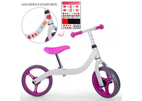 Детский двухколесный беговел на EVA колесах, диаметр 10,5 дюймов, Profi Kids M 3843-3 бело-розовый