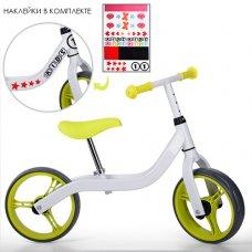 Детский двухколесный беговел на EVA колесах, диаметр 10,5 дюймов, Profi Kids M 3843-4 бело-салатовый