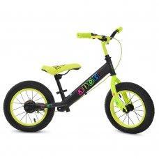 Детский беговел (велобег) Profi Kids на надувных колесах с тормозом, M 3845A-1 черно-салатовый