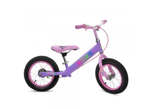 Детский беговел (велобег) Profi Kids на надувных колесах с тормозом, M 3845A-2 сиренево-розовый