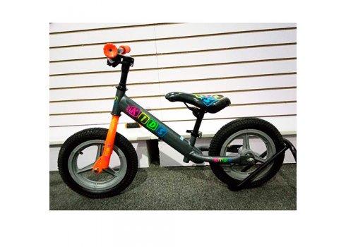 Беговел Profi Kids 12 дюймов надувные колеса, M 3846A-1 серо-оранжевый