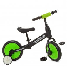 Беговел (велобег) детский 2в1 12 дюймов PROF1 KIDS M 5452-2 черно-зеленый