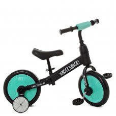 Беговел (велобег) детский 2в1 12 дюймов PROF1 KIDS M 5452-3 черно-голубой