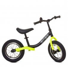 Беговел детский на надувных колесах PROFI KIDS 12 дюймов M 5460A-8 черно-салатовый