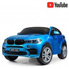 Детский двухместный электромобиль Джип BMW X6 с кожаным сиденьем JJ2168EBLRS-4 синий автокраска