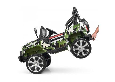 Детский электромобиль Джип с кожаным сиденьем, M 3237EBLR-18 камуфляж