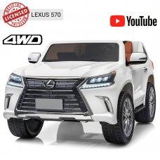 Детский полноприводный электромобиль Lexus (Лексус) LX 570 с планшетом M 3906(MP4)EBLR-1 белый