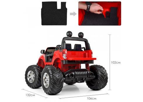 Детский лицензионный электромобиль джип Ford Monster Truck с MP4 монитором M 4013(MP4)EBLR-3 красный