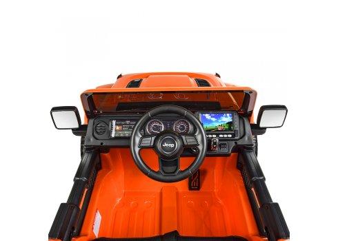 Детский электромобиль Джип с планшетом MP4 Jeep 4х4 Bambi M 4176(MP4)EBLR-7 оранжевый