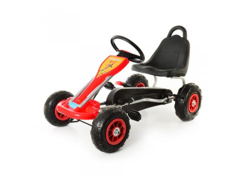 Детский педальный карт на надувных колесах, Bambi M 1564-3 красный