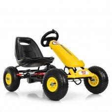 Детский педальный карт на надувных колесах, Bambi M 3590AL-6 желтый