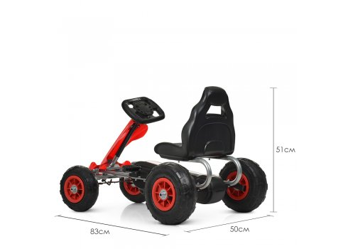 Детский педальный карт (веломобиль) на надувных колесах Bambi M 4036-3 красный