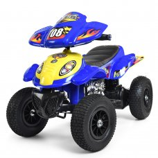 Детский электрический квадроцикл Bambi на надувных колесах, M 2403ALR-4 синий