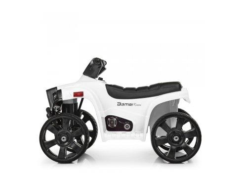 Детский электрический квадроцикл Bambi с кожаным сиденьем M 3893EL-1 белый