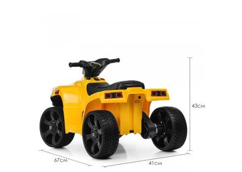 Детский электрический квадроцикл Bambi с кожаным сиденьем M 3893EL-6 желтый