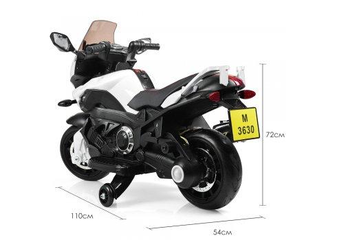 Детский электромобиль мотоцикл M 3630EL-1 белый (дым из выхлопной трубы)