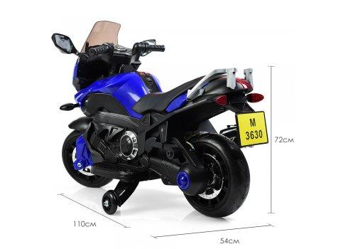 Детский электромобиль мотоцикл M 3630EL-4 синий (дым из выхлопной трубы)
