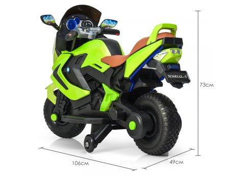 Детский двухколесный мотоцикл BMW с резиновыми колесами M 3681ALS-5 зеленый автопокраска
