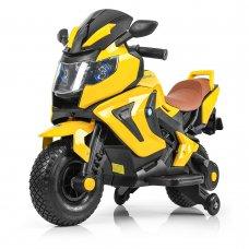 Детский двухколесный мотоцикл BMW с резиновыми колесами M 3681ALS-6 желтый автопокраска