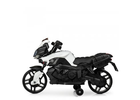Детский мотоцикл с кожаным сиденьем M 3832EL-1 белый