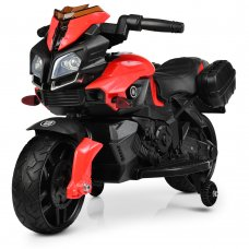 Детский мотоцикл с кожаным сиденьем M 3832EL-2-3 черный с красным