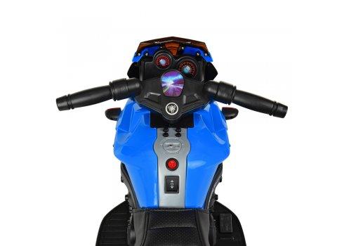 Детский мотоцикл с кожаным сиденьем M 3832EL-2-4 синий с черным
