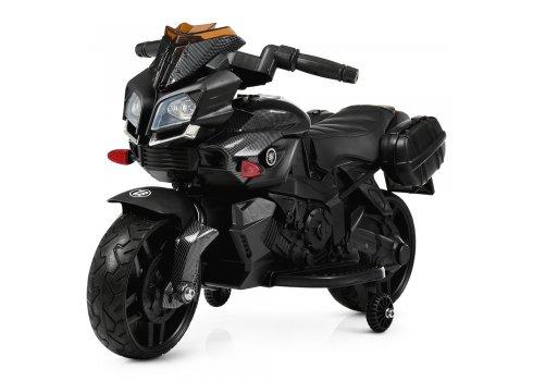 Детский мотоцикл с кожаным сиденьем M 3832ELM-2 черный крашено-матовый