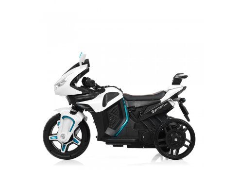 Детский электромобиль мотоцикл с 2-мя мощными моторами M 3965EL-1 белый