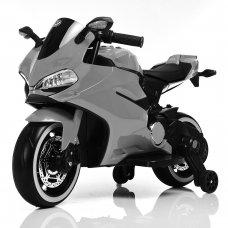 Детский электромобиль мотоцикл с LED-подсветкой колес Bambi M 4104ELS-11 серый автопокраска