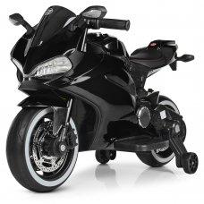Детский электромобиль мотоцикл с LED-подсветкой колес Bambi M 4104ELS-2 черный покраска
