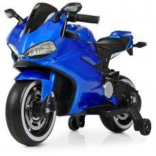 Детский электромобиль мотоцикл с LED- подсветкой колес Bambi M 4104ELS-4 синий покраска