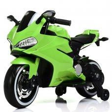 Детский электромобиль мотоцикл с LED-подсветкой колес Bambi M 4104ELS-5 зеленый автопокраска
