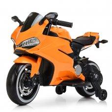Детский электромобиль мотоцикл с LED-подсветкой колес Bambi M 4104ELS-7 оранжевый автопокраска