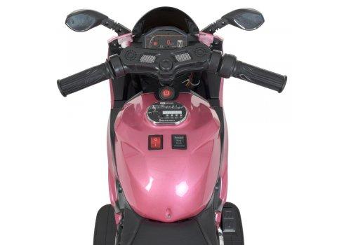 Детский электромобиль мотоцикл с LED-подсветкой колес Bambi M 4104ELS-8 розовый автопокраска