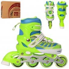Детские раздвижные ролики размер 31-34 Profi A4122-S-GR зеленый