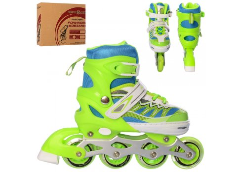 Детские раздвижные ролики размер 35-38 Profi A4122-M-GR зеленый