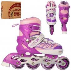 Детские раздвижные ролики размер 35-38 Profi A4122-M-V фиолетовый