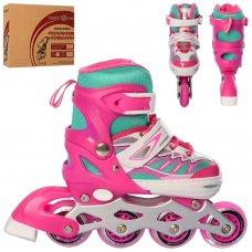 Детские раздвижные ролики размер 31-34 Profi A4122-S-P розовый