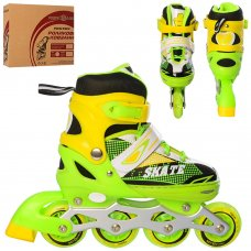 Детские раздвижные ролики размер 35-38 Profi A4123-M-GR зеленый