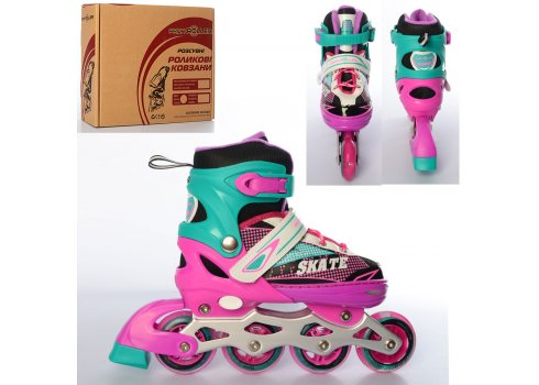 Детские раздвижные ролики размер 35-38 Profi A4123-M-PGR розово-зеленый