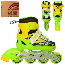 Детские раздвижные ролики размер 31-34 Profi A4123-S-GR зеленый