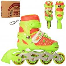 Детские ролики с регулируемым размером 31-34 PROFI A4138-S-GR зеленый