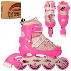 Детские ролики с регулируемым размером 31-34 PROFI A4138-S-P розовый