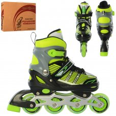 Детские раздвижные роликовые коньки размер 35-38 PROFI A4139-M-G зеленый