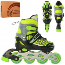 Детские раздвижные роликовые коньки размер 31-34 PROFI A4139-S-GR зеленый